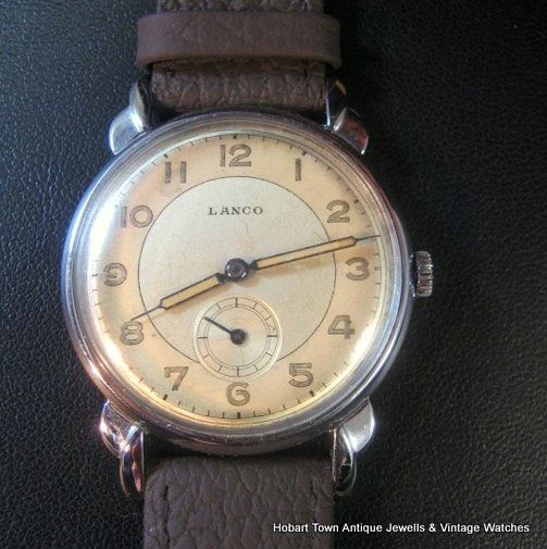 Stunning Langendorf Lanco 1940's Sub Seconds ww2 Gents Watch