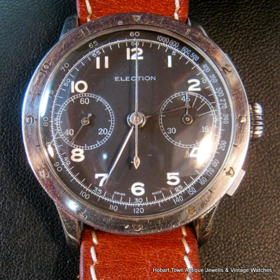 Stunning Vintage ELECTION Military Chronograph Rotating Bezel Valjoux 22