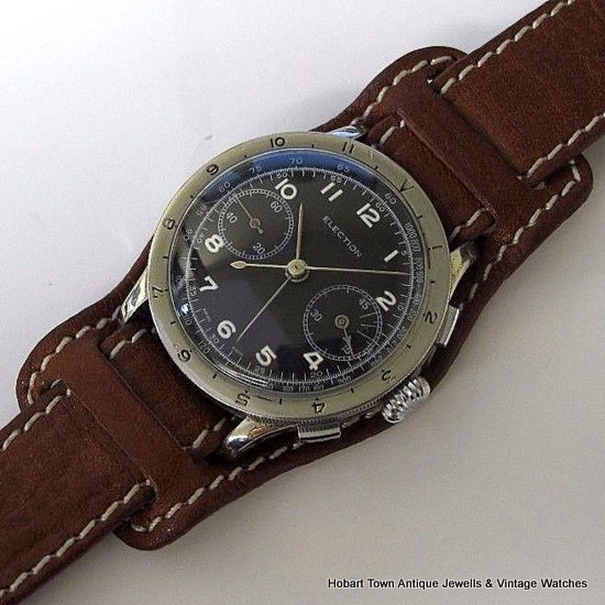 Stunning Vintage ELECTION Military Chronograph Rotating Bezel Valjoux 22 Watch