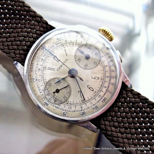 Ultra Rare Vintage CERVUS 3 Button Chronograph 1938 Swiss Watch