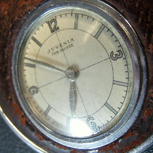 Fantastic Rare Vintage Juvenia Leather Covered Fob - Pocket Watch