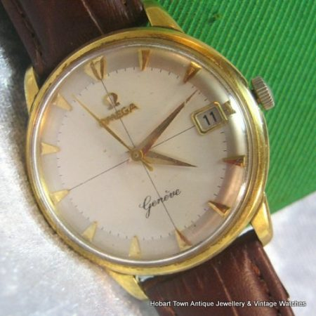 Rare Vintage Omega Geneve Date Cross Hairs 18ct Gold c1960 Boxed
