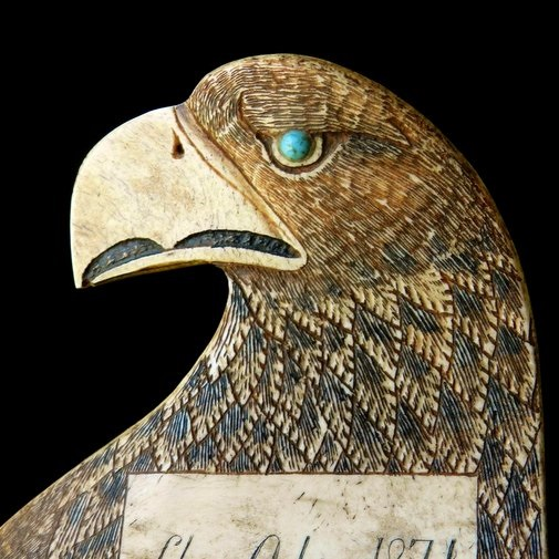 19thC Schrimshaw Eagle's Head Danish Navy Ship ODIN 1871