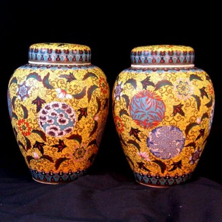 Takeuchi Chubei ~ The Undisputed Master 19thC Totai Work Pair Covered Jars