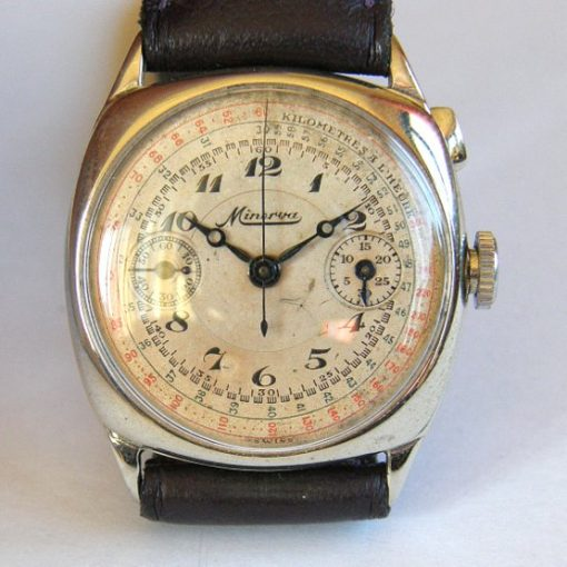 Exceptionally Rare Important Minerva Cushion Case Chronograph c1925
