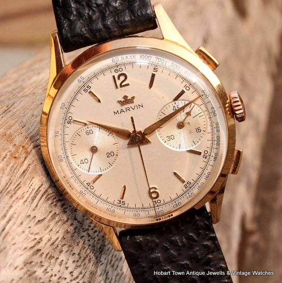 Extra Fine Vintage Marvin 37m 45min Chronograph 1950s Watch