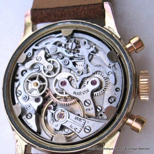 Extremely Rare Marvin Hermetic Triple Register Chronograph c1940s 36m