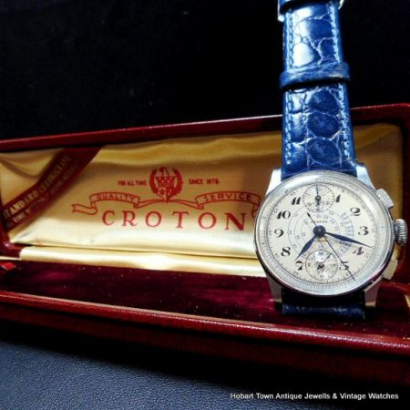 Mint Boxed 1940 Nivada Croton Chronograph Telemeter Tachymeter Gents Watch