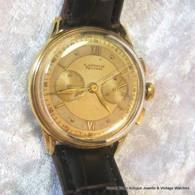 Unbelievably Rare Gubelin Chronometer Chronograph 6 Adjustments 18k