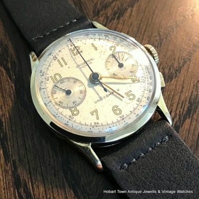 Vintage Universal Geneve Compax Chronograph 14k 14ct 1945 Ref;12445