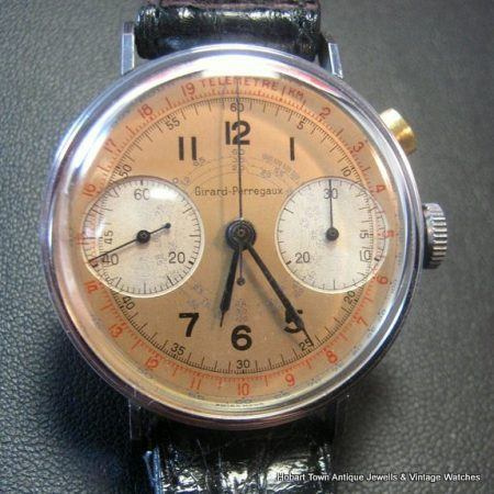 Super Rare c1930s Original Bug Eye Girard Perregaux Monopusher Chronograph