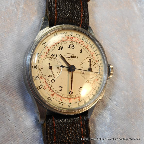 Handsome Early Tavannes 45min Chronograph 1930s 36'5m Watch