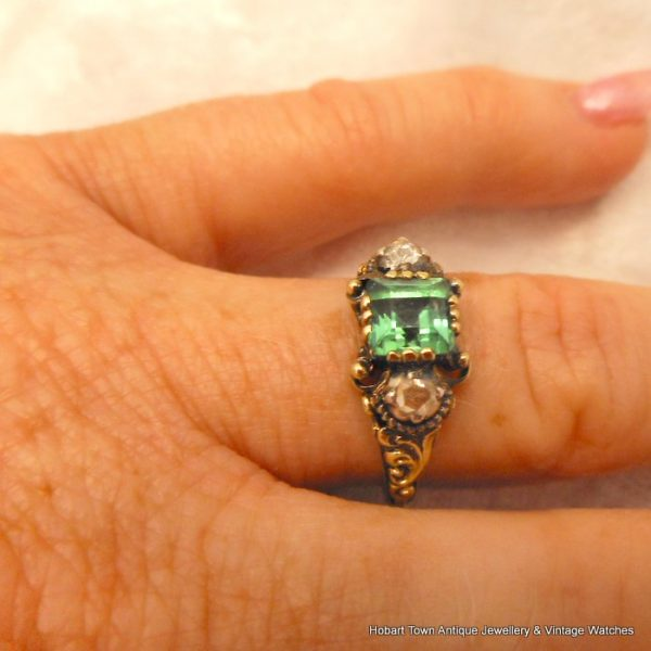 Superb European Georgian Emerald Diamond Gold Silver Ladies Ring c1820s 1.33ct