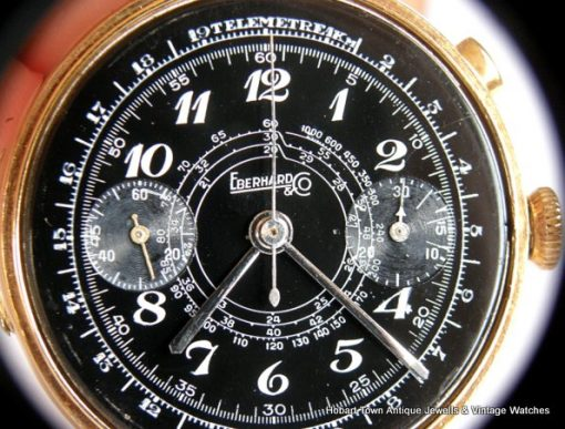 Superb Rare Eberhard Black Dial 1920 Mono Button Chronograph 40m