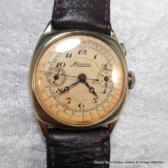 Exceptionally Rare Minerva Cushion Case 1925 Chronograph
