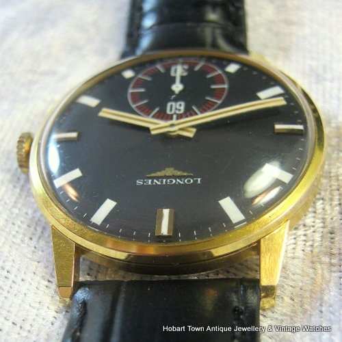 Fantastic Vintage Longines Black White Dial Full Size Sports Watch