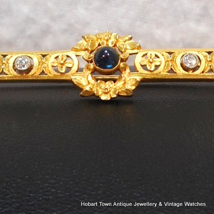 Superb French Antique Sapphire Diamond 22ct Gold Bar Brooch