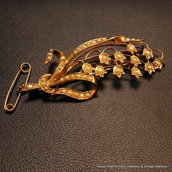 antique 15ct gold lily of the valley Victorian brooch