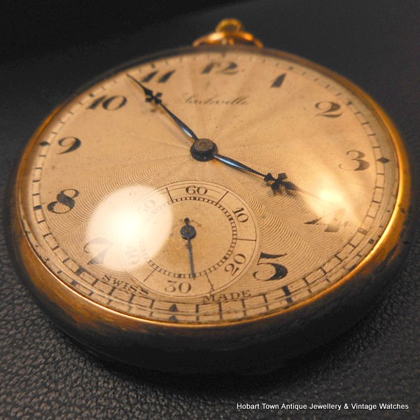 Antique Omega Sackville Guilloche Enamel Sunburst Dial Pocket Watch