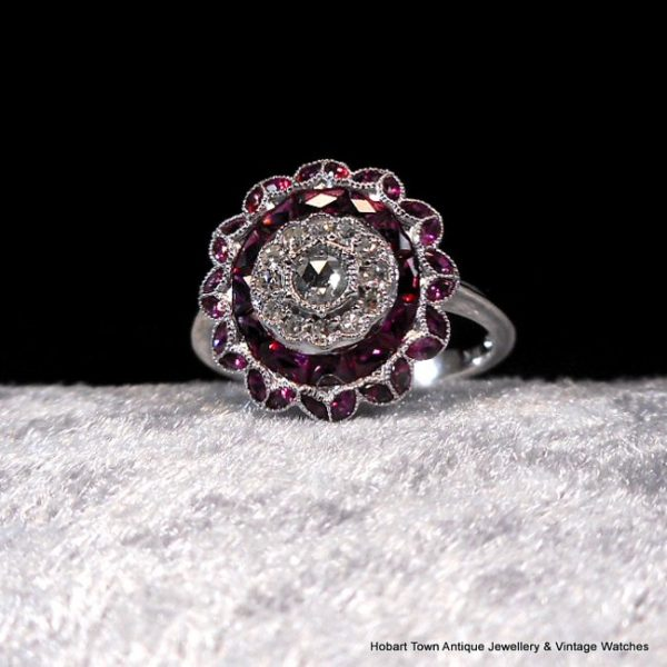 Art Deco Ruby Diamond Multi Gem Style White Gold Ring