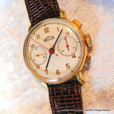 Fine Angelus 1940s Vintage 18ct Gold 36'5m Chronograph All Original