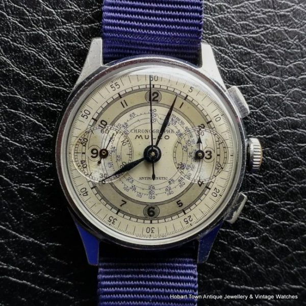 Fine Very Rare Mulco late 1930s Sector Dial Valjoux 22 Chronograph