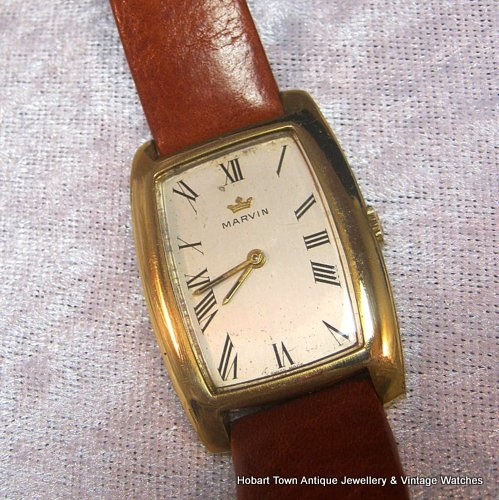 Fine Vintage Marvin Tank Shape Large Gents Swiss Watch
