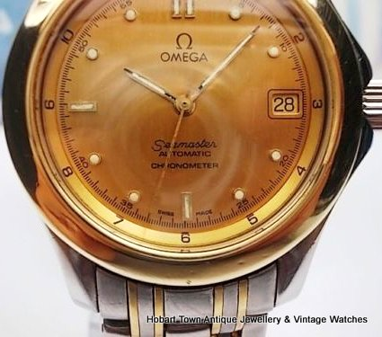 Omega Seamaster chronometer 120 meter gold St.Steel vintage watch
