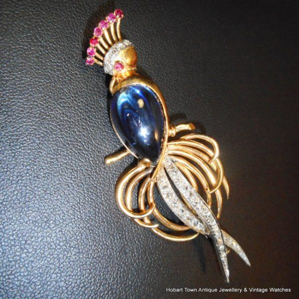 Stunning 40s French Bird of Paradise Ruby Diamond Sapphire Gold Brooch