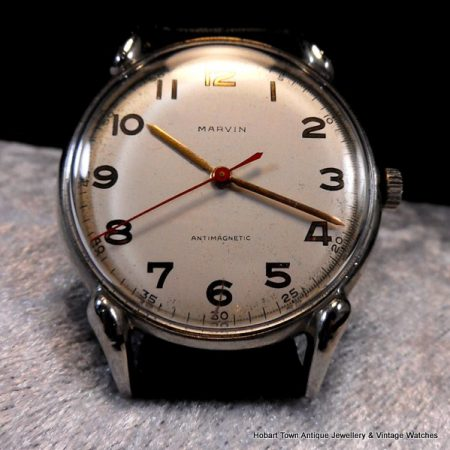 handsome classic 1940s center seconds oversize Marvin watch