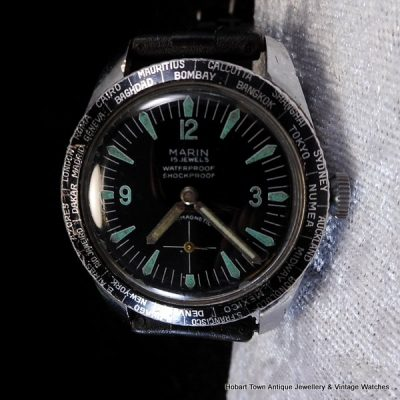Rare Rolex Sub Brand Marin World Time 35.4m Divers watch