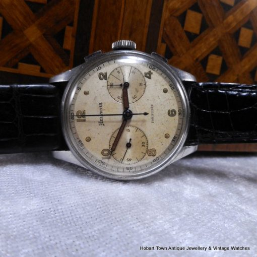 Rare Omega Helvetia Military Style Chronograph 1940s Val; 23