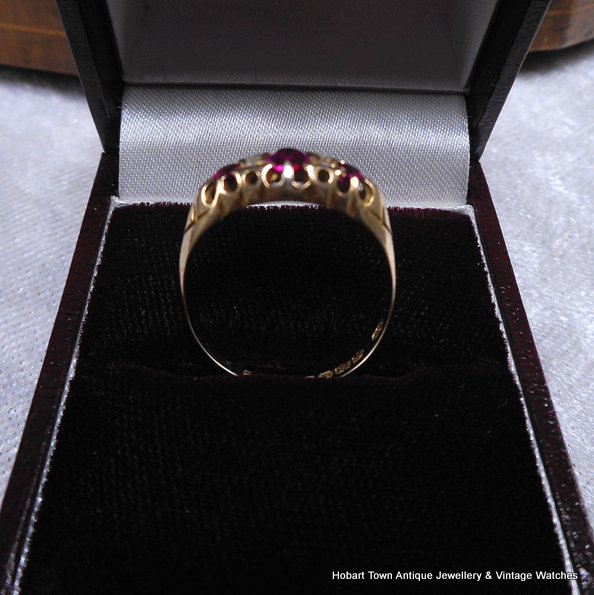 Antique Edwardian Ruby Diamond Ring 1916